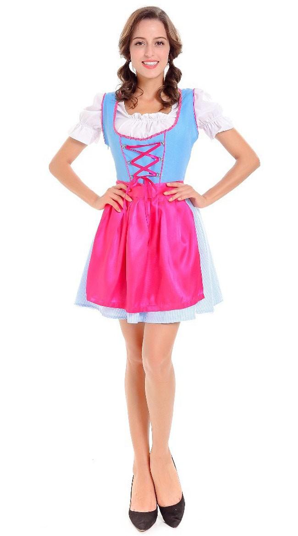 Tjenestepike Oktoberfest Kostyme Tyrolerkjole Rose