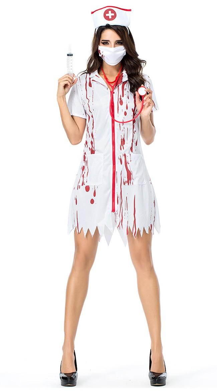 Blodig Døde Zombie Sykepleier Kostyme