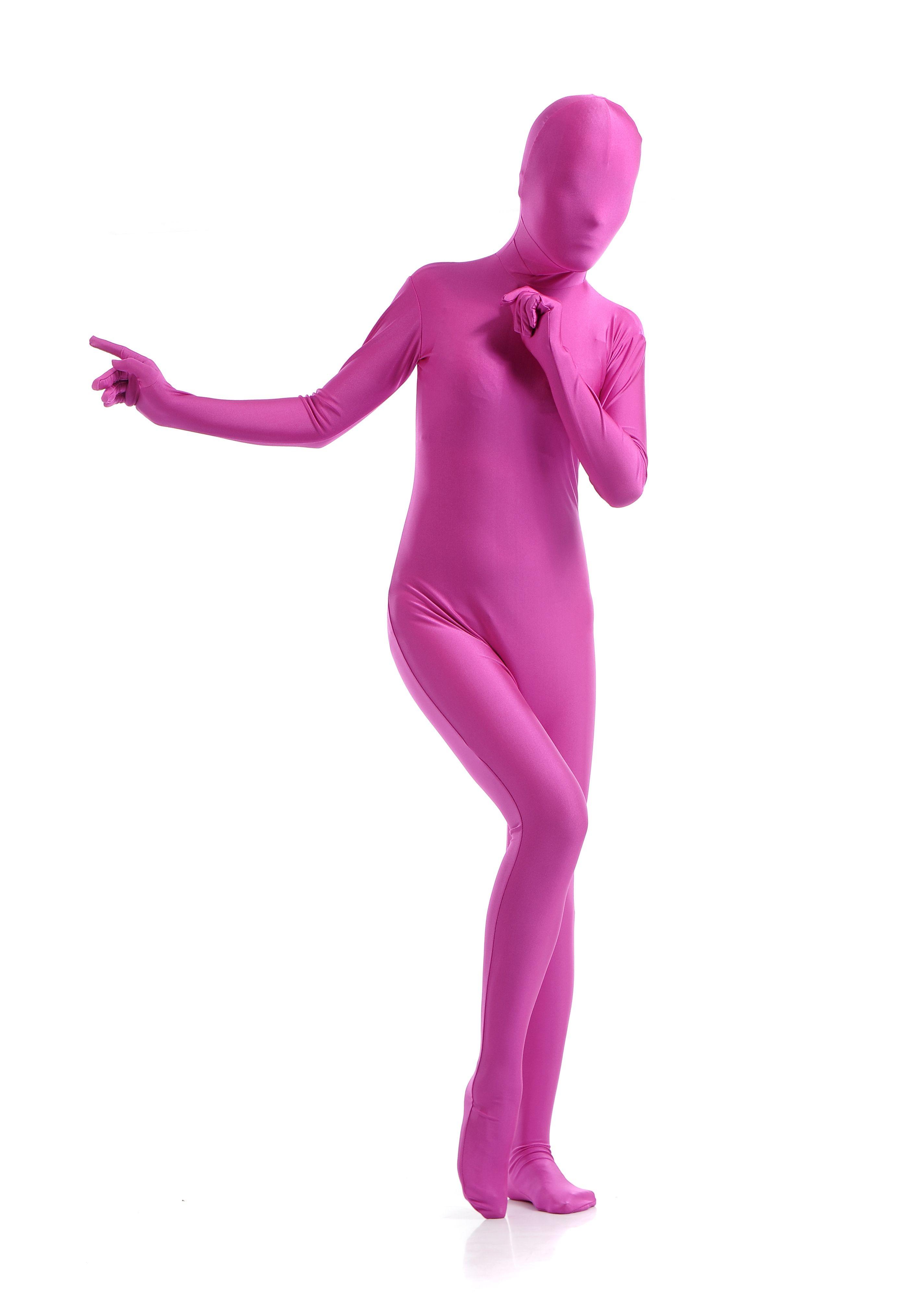 Morphsuit Skinsuit Lycra Spandex Drakt Heldekkende Dame Rosa