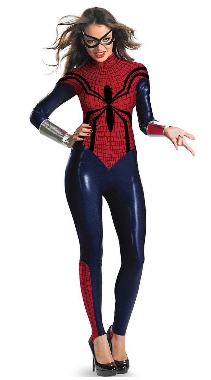 Spidergirl Kostyme Halloween Superhelt Bodysuit