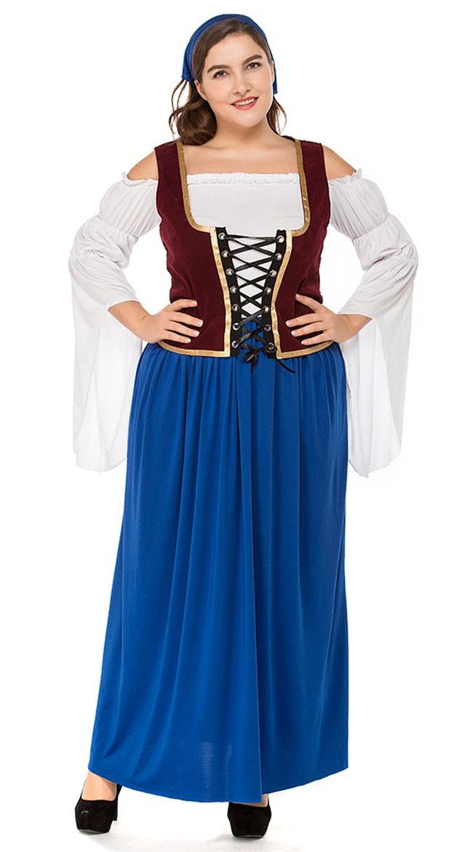 Miss Swiss Oktoberfest Kostyme Store Størrelser Blå