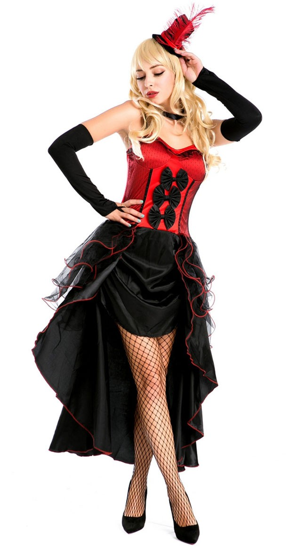 Can Can Kjole Rød Burlesque Kostyme