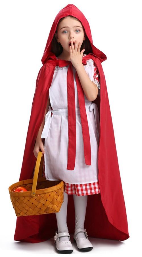Deluxe Barn Lille Rødhette Kostyme for Halloween