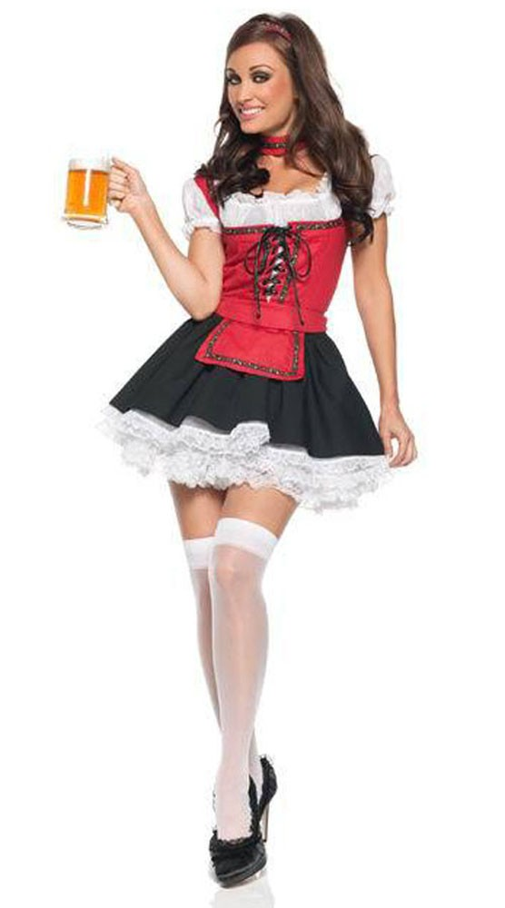 Rød Og Hvit Tyroler Oktoberfest Kostyme