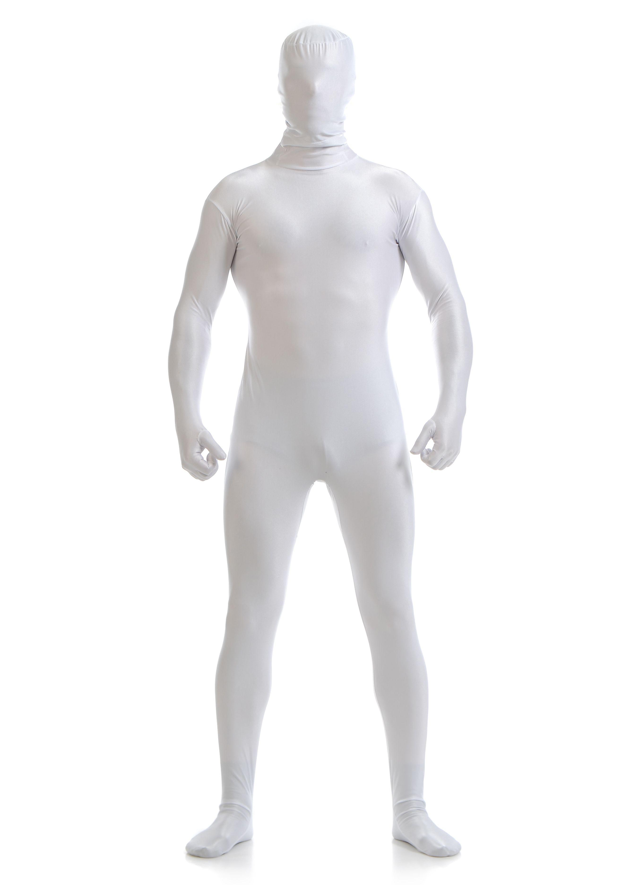 Morphsuit Skinsuit Lycra Spandex Drakt Heldekkende Herre Hvit
