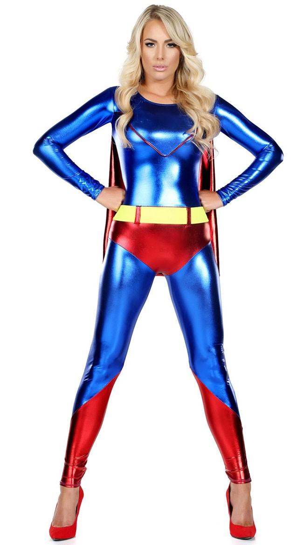 Sexy Blå Superhelt Superwoman Kostyme