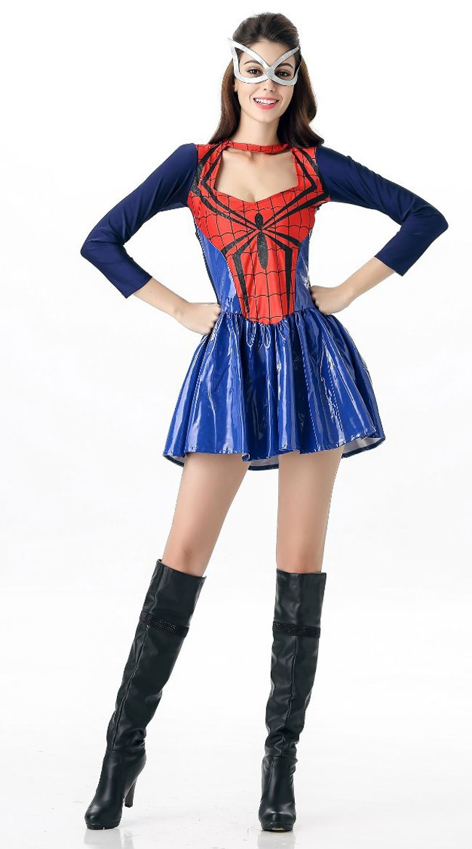 Sexy Spidergirl Kostyme Blå Rød