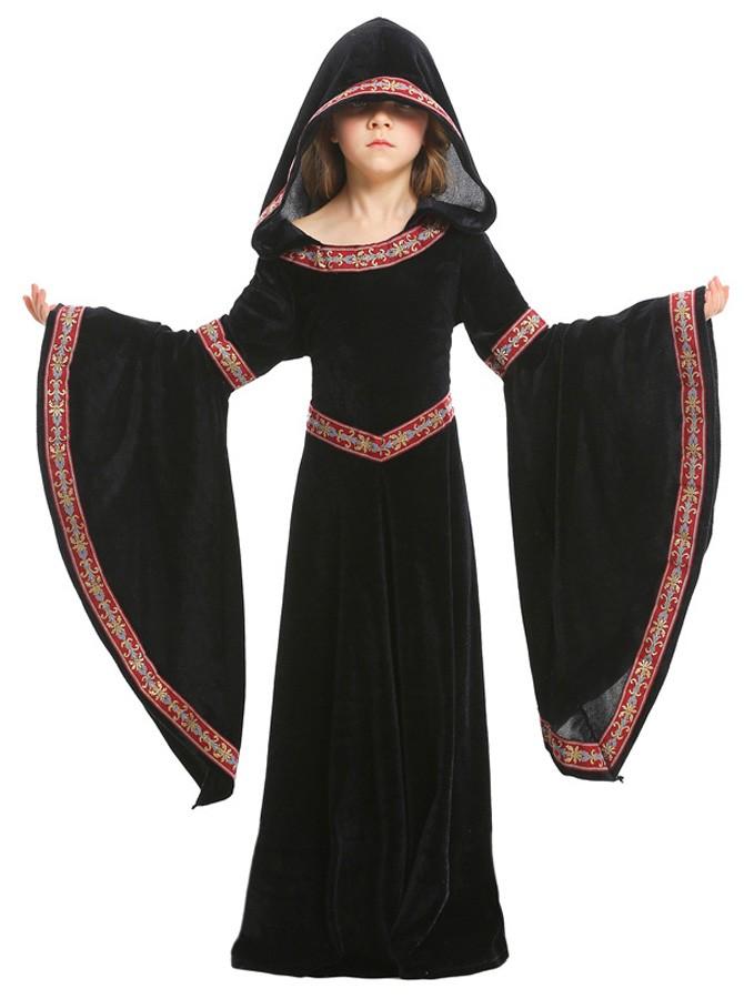 Jenter Halloween Vampyr Kostyme Barn Hette Robe Svart
