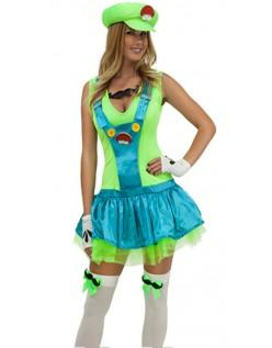 Grønn Rørlegger Kostyme Super Mario Kostyme Dame