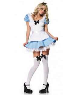 Blå Og Hvit Alice i Eventyrland Kostyme