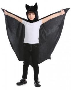 Barn Halloween Vampyr Kostyme Hette Kappe Svart