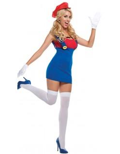 Super Mario Sexy Rød Rørlegger Kostyme Dame