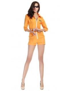 Halloween Oransje Fange Kostyme Jente