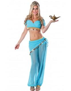 Sexy Genie Magedanser Kostyme Blå