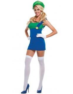 Super Mario Sexy Grønn Rørlegger Kostyme Dame