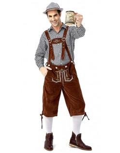 Herre Tradisjonell Bayersk Oktoberfest Lederhosen Kostyme Svart Brun