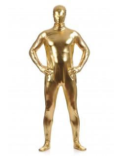 Morphsuits Mann Heldekkende Metallic Skinnende Drakt Gul