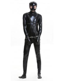 Svart Pu Fange Kostyme Mann