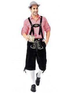 Herre Tradisjonell Bayersk Oktoberfest Lederhosen Kostyme Rød Svart