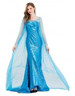 Deluxe Frozen Kostymer Isblå Elsa Prinsessekjole Voksne