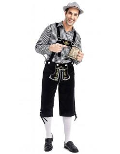 Herre Tradisjonell Bayersk Oktoberfest Lederhosen Kostyme Svart Svart
