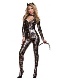 Sexy Lakkert Leopard Catwoman Kostyme