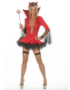 Halloween Djevel Kostyme Dyp V-Hals Rød