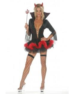 Halloween Djevel Kostyme Dyp V-Hals Svart