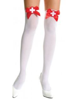 Rød Sløyfe Sykepleiermerke Overknee Strømper