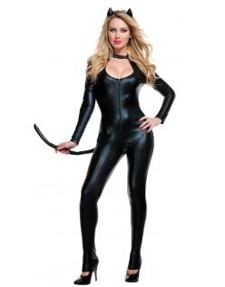 Svart Sexy Lakskat Catwoman Kostyme