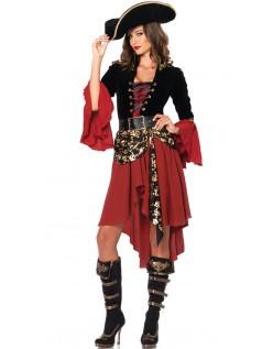 Krøllete Halloween Pirat Kostyme Dame