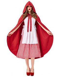 Knelengde Deluxe Lilla Rødhette Kostyme