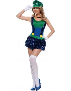 Blendende Grønn Rørlegger Kostyme Super Mario Kostyme