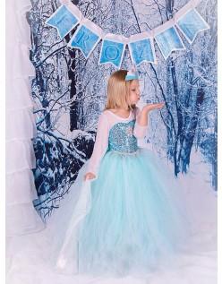 Klassisk Frozen Kjole Barn Elsa Prinsessekjole