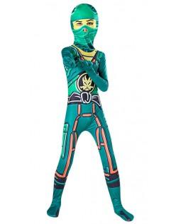 Grønne Gutter Ninjago Kostyme Jumpsuits Halloween Ninja Barnekostyme
