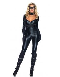 Svart Sexy Superhelt Catwoman Kostyme
