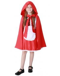 Deluxe Lange Små Rødhette Kostym Barn