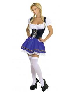 Blå Klassisk Oktoberfest Kostyme Dame