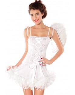 Sexy Hvit Fjær Engel Kostyme