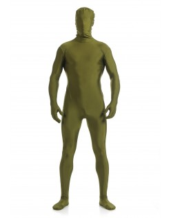 Morphsuit Skinsuit Lycra Spandex Drakt Heldekkende Herre MilitærGrønn