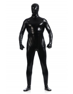 Morphsuits Mann Heldekkende Metallic Skinnende Drakt Svart