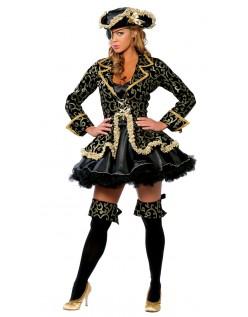 Kul Svart Akryl Pirat Kostyme Dame