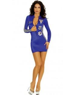 Cheerleader Kostyme Sexy Blå Racer Kostyme