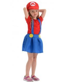 Tweens Mario Rørlegger Kostyme For Jente
