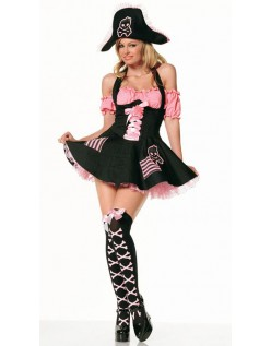 Svart Rosa Halloween Piratkaptein Kostyme