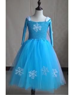 Deluxe Frozen Elsa Prinsessekjole Jente Tutu Kjole