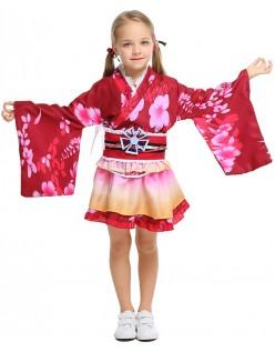 Barn Japansk Geisha Inspirert Kimono Kostyme Rød