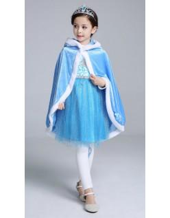 Blå Frost Elsa Prinsessekjole Barn Kappe Med Hette Lang