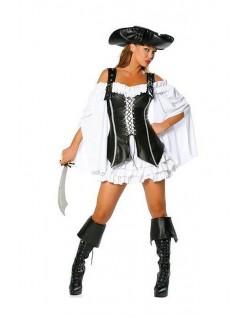Halloween Kostymer Svart Hvitt Pirat Kostyme