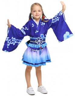 Barn Japansk Geisha Inspirert Kimono Kostyme Blå